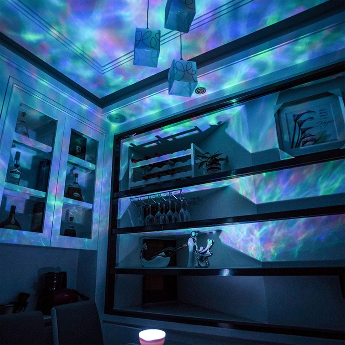 Wellenprojektor, Wasserprojektor. Relaxen mit Licht und Musik